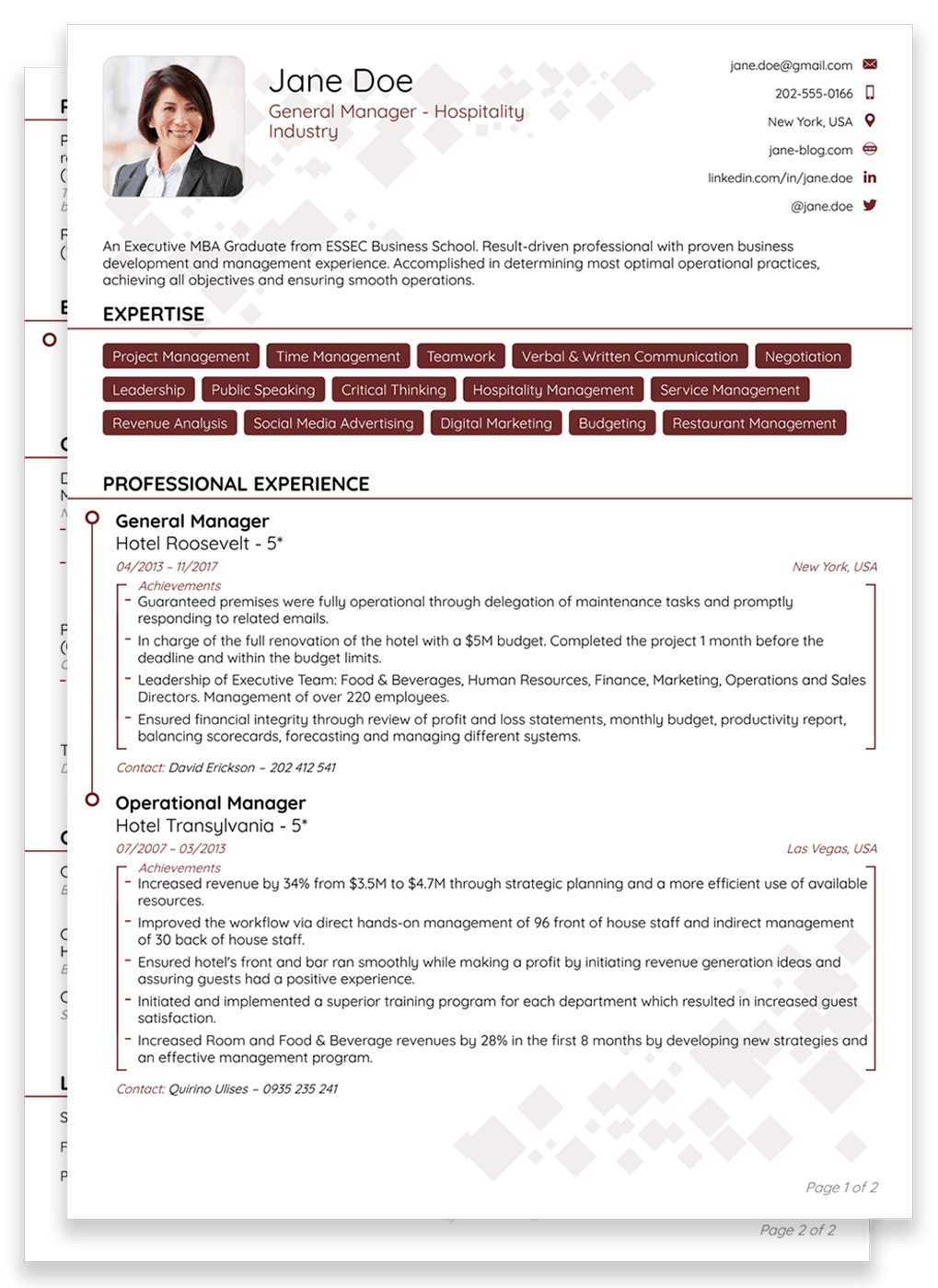 2 pages resume