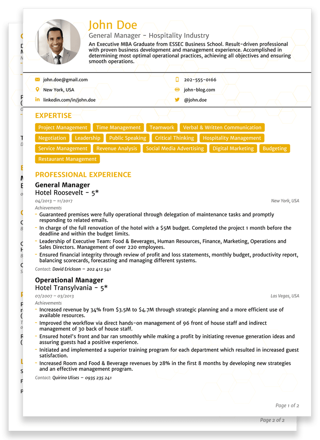 basic two pages resume template