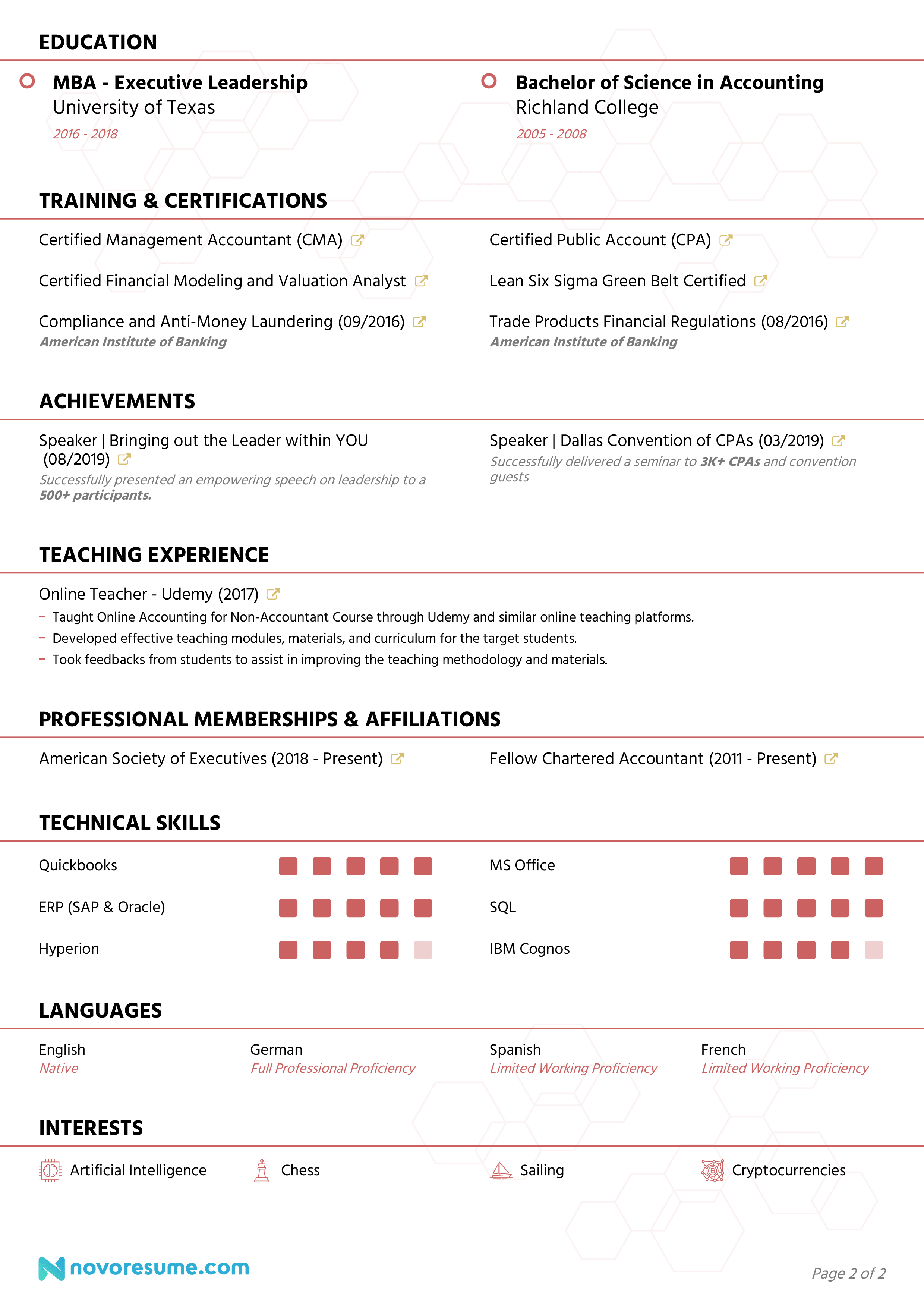 accountant resume page 2