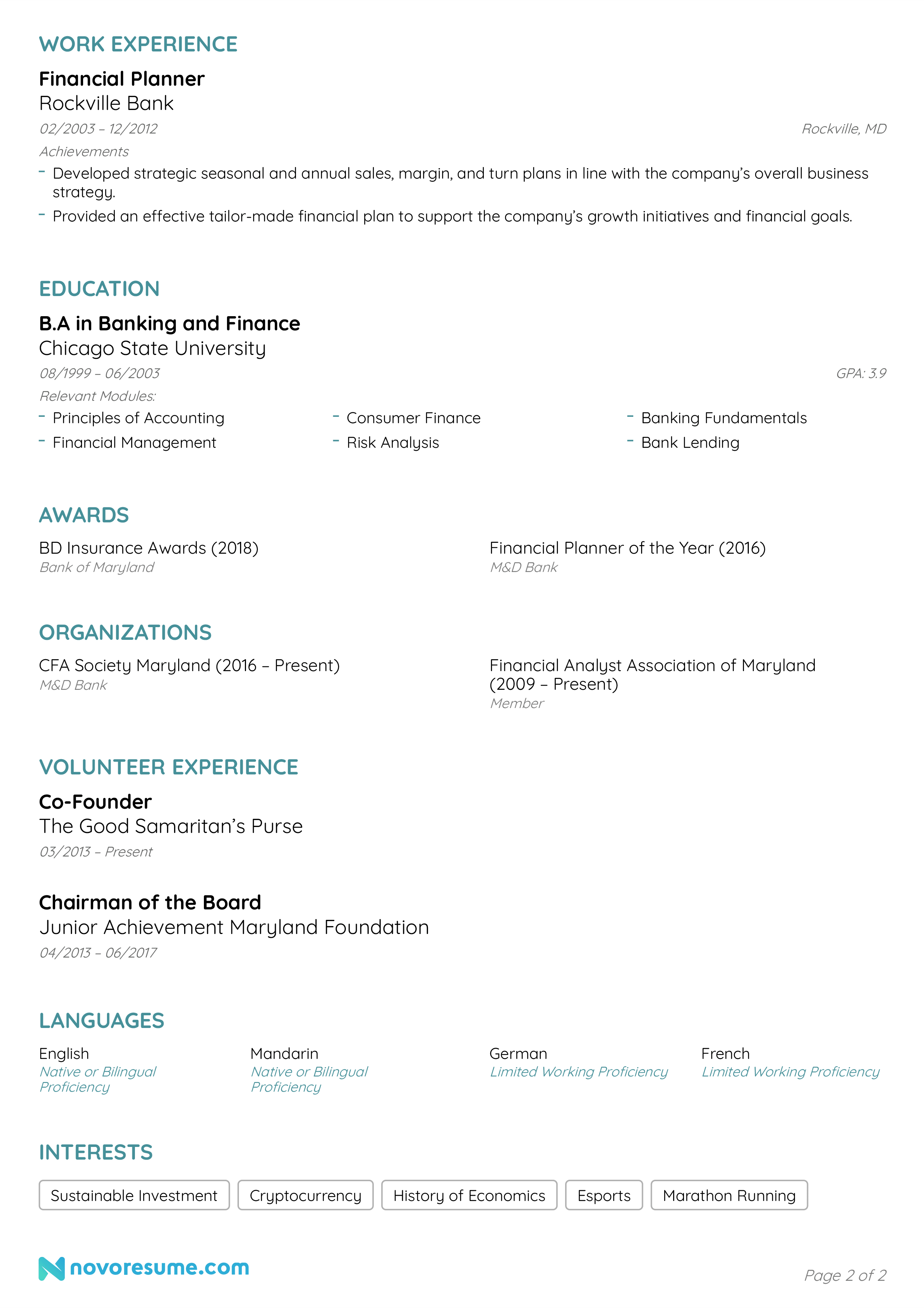 banking resume example page 2