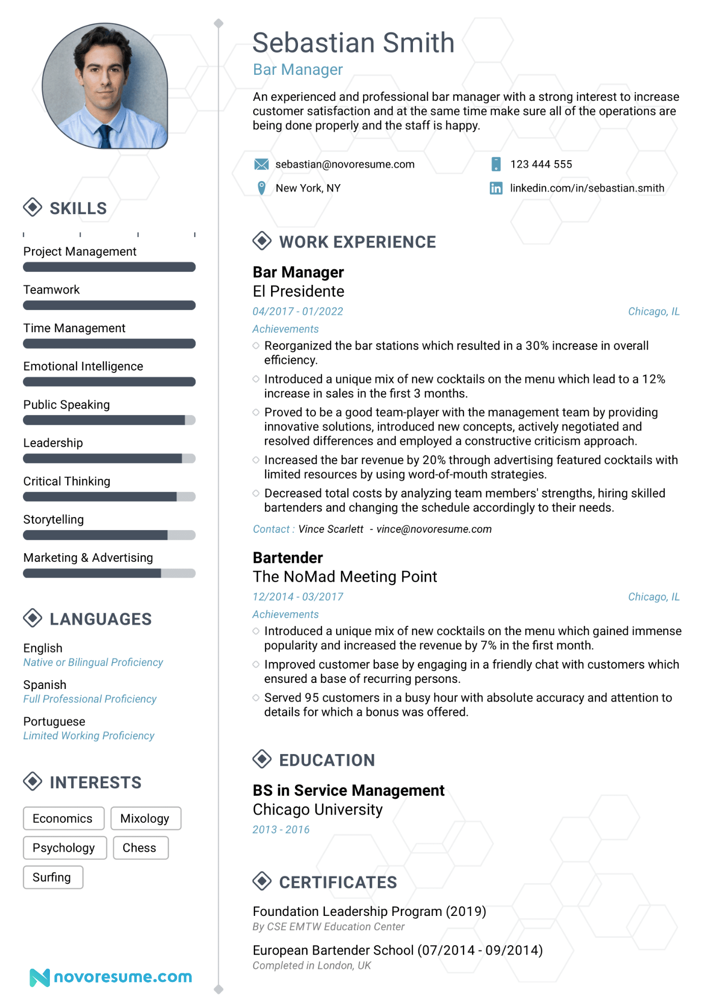 Bar Restaurant Manager Resume Example Update Yours For 2019