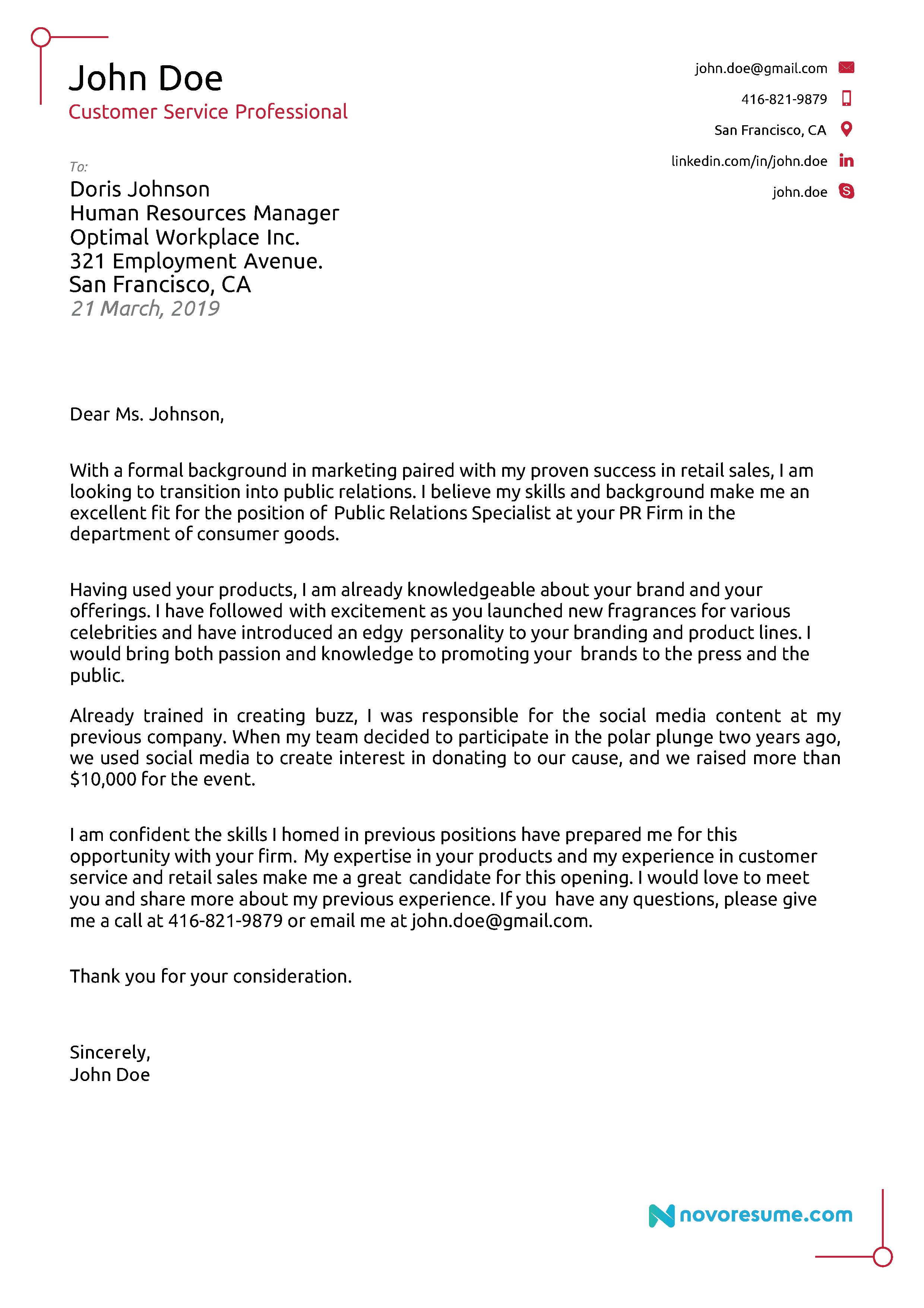 career change cover letter sample