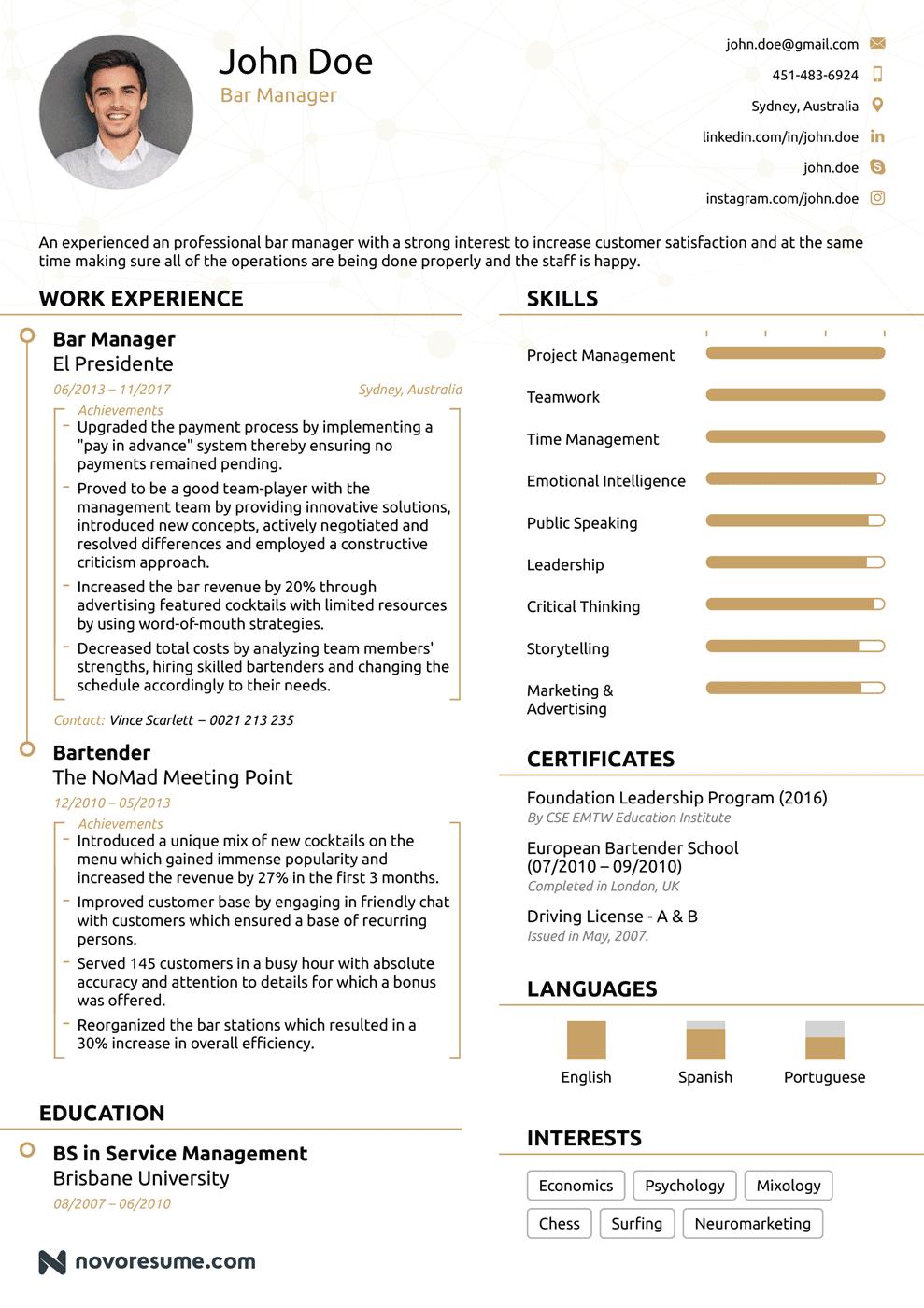 Bar Manager Chronological Resume