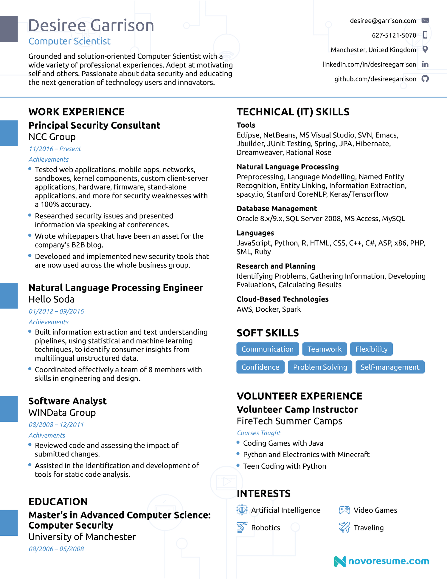 Computer Science Chronological Resume