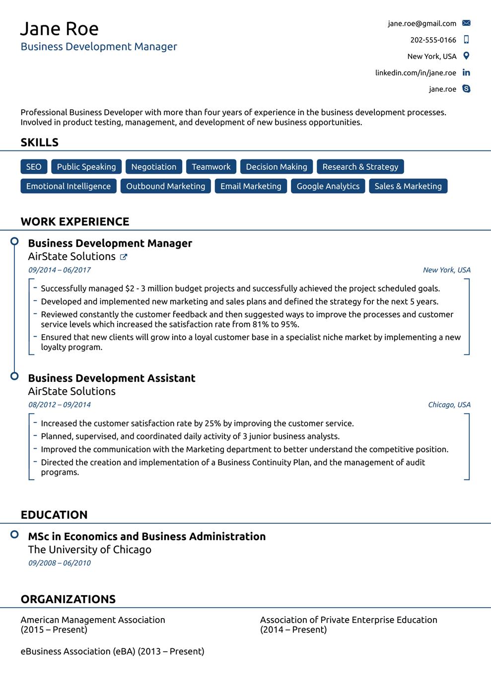 Modern Chronological Resume Template