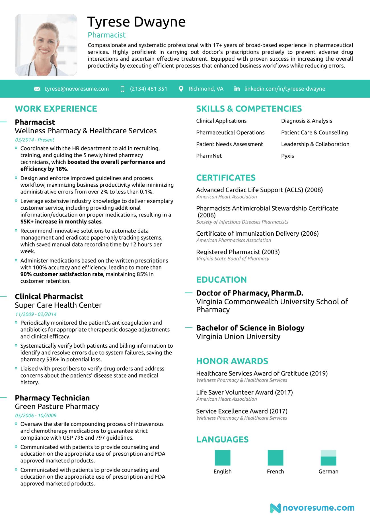 Pharmacist Chronological Resume