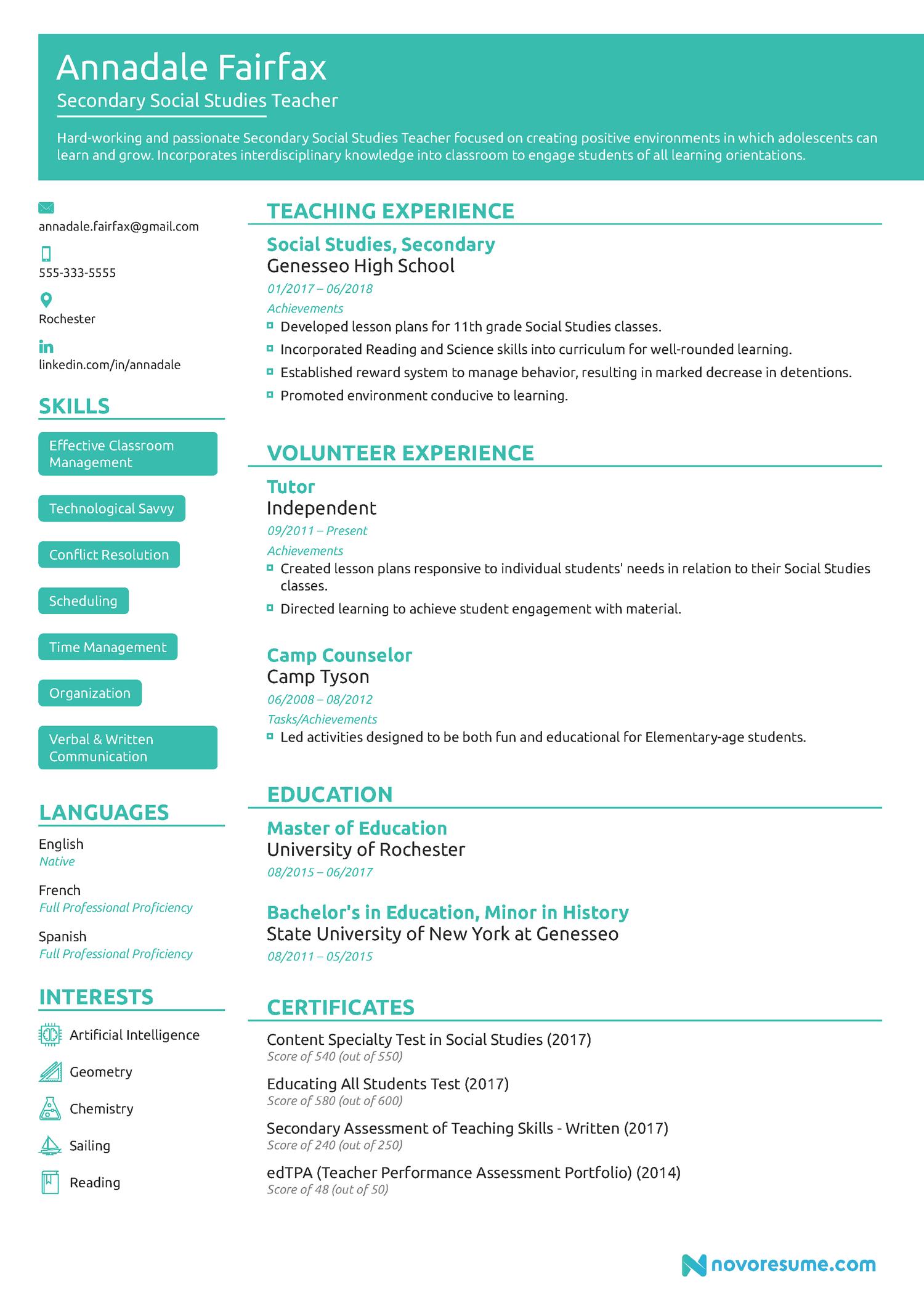 Teacher Chronological Resume