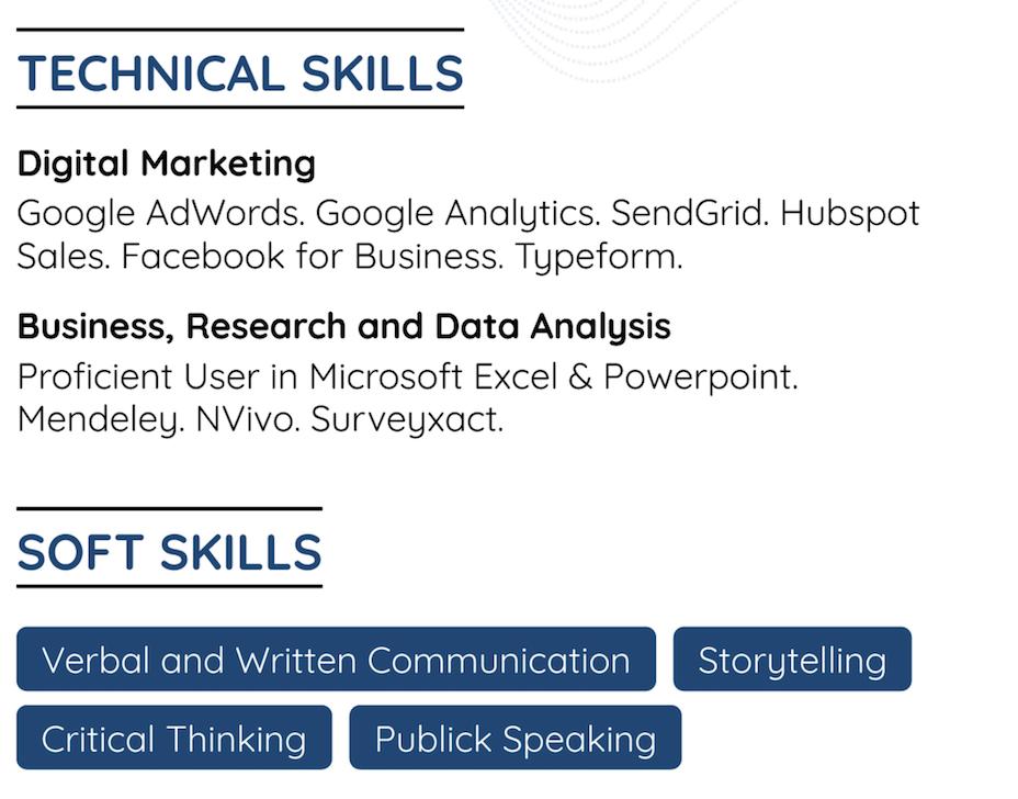 additional skills combination resume