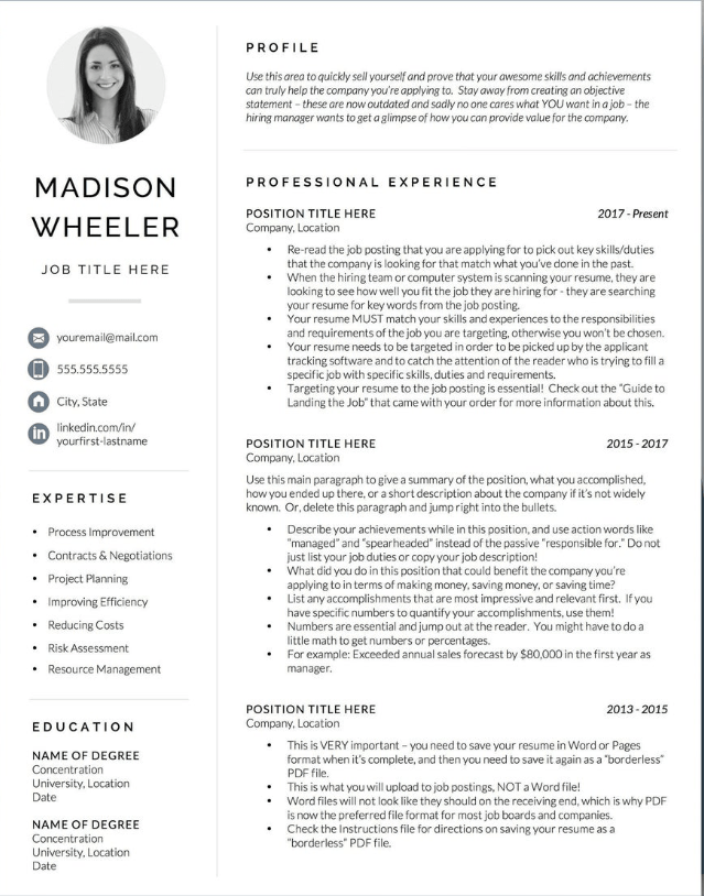 one page creative resume by get landed