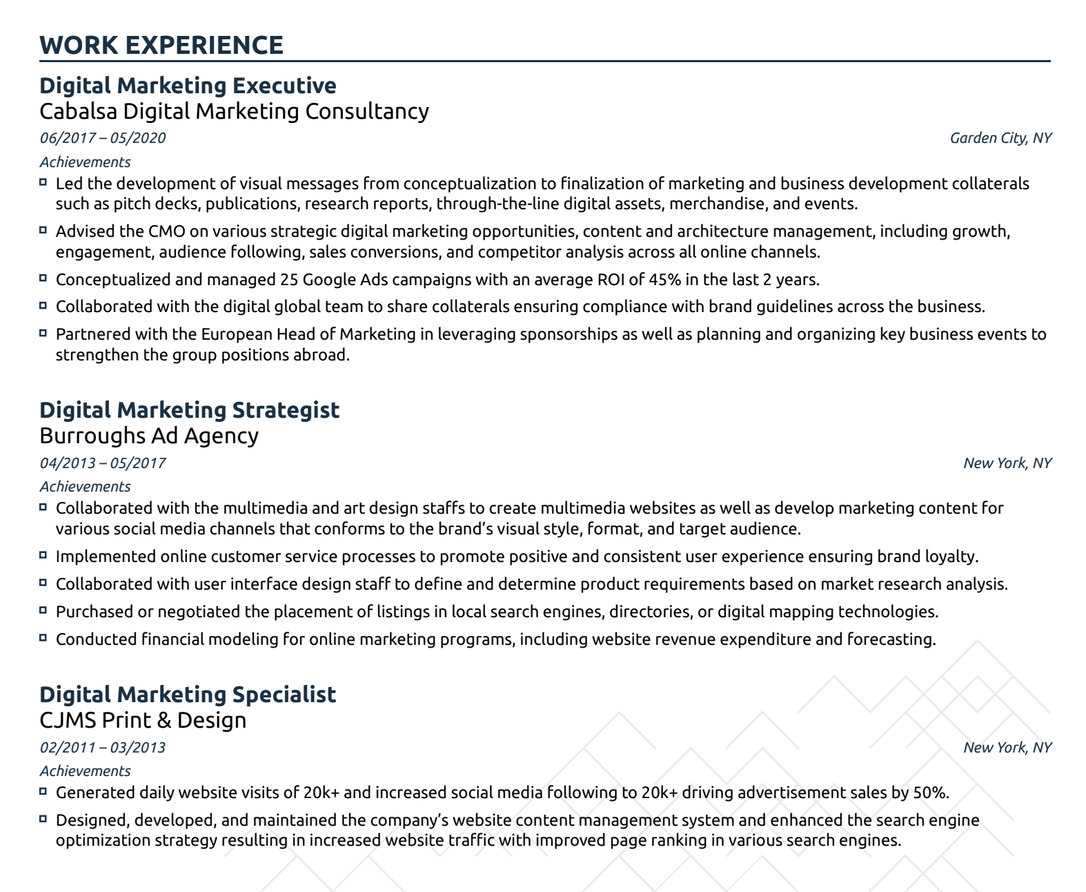 cv format work experience