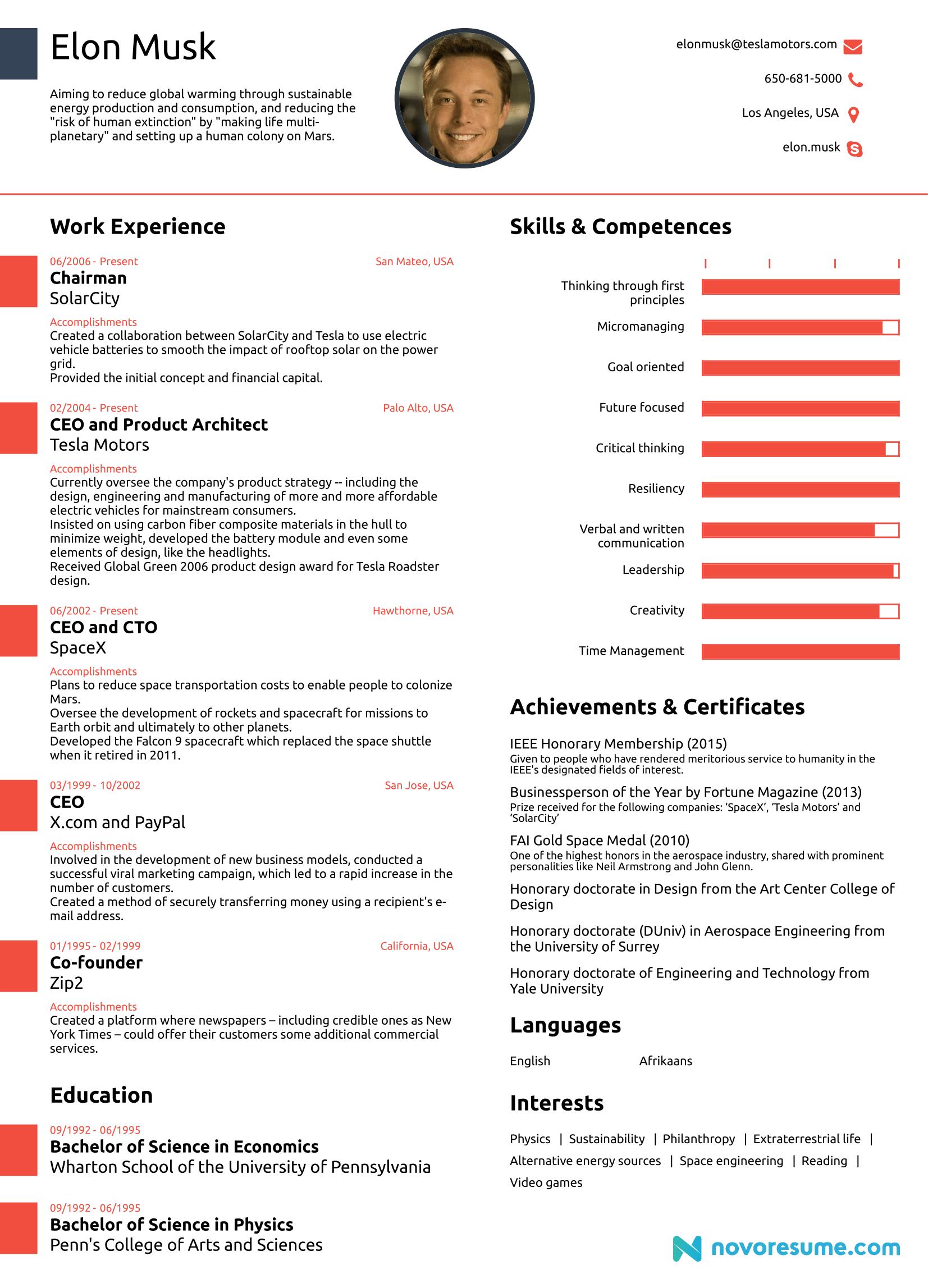 elon musk original one page resume