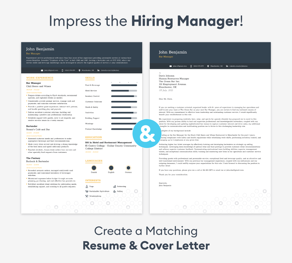 entry level cover letter match resume