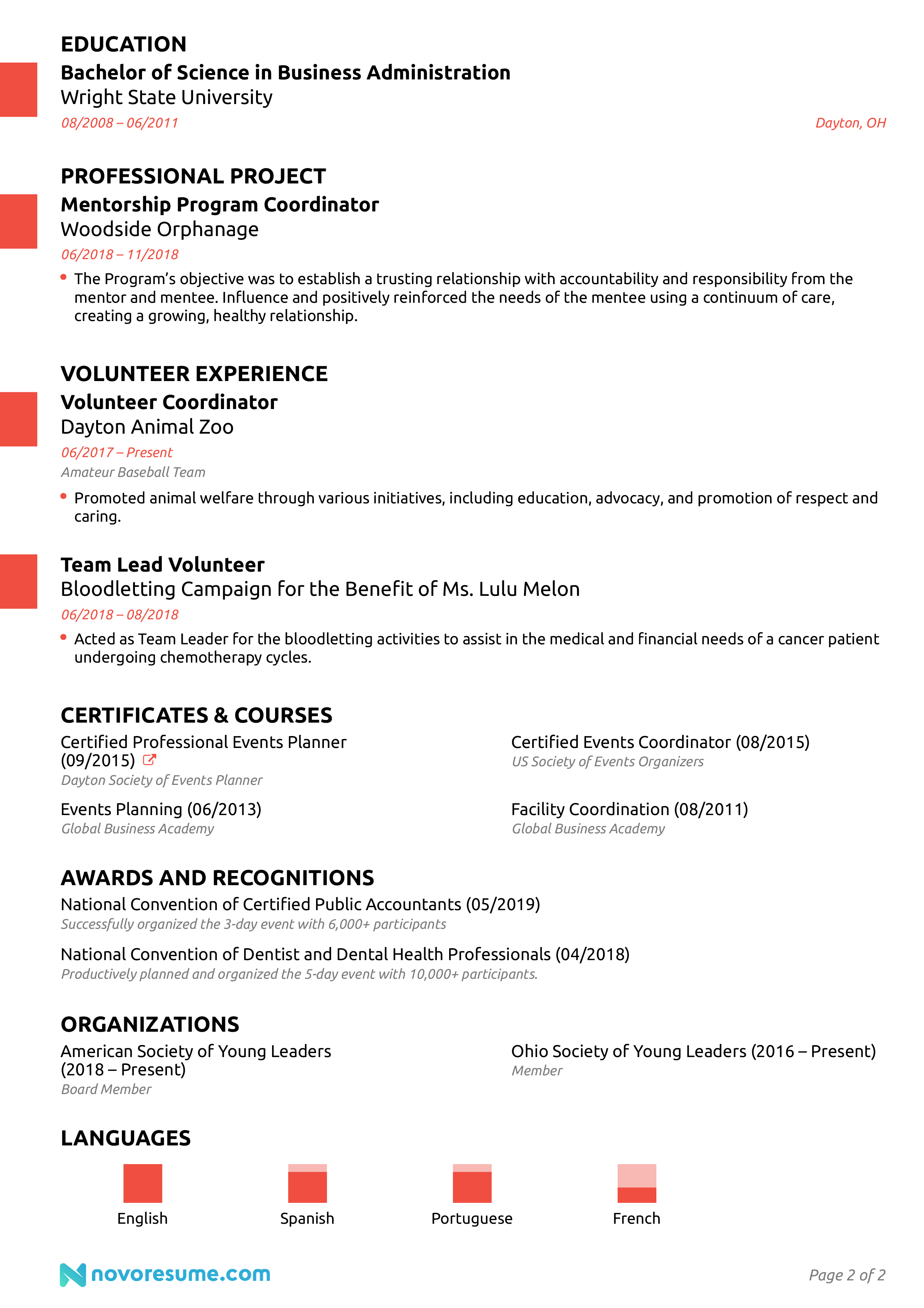 Event management resume objective write a story about your friend