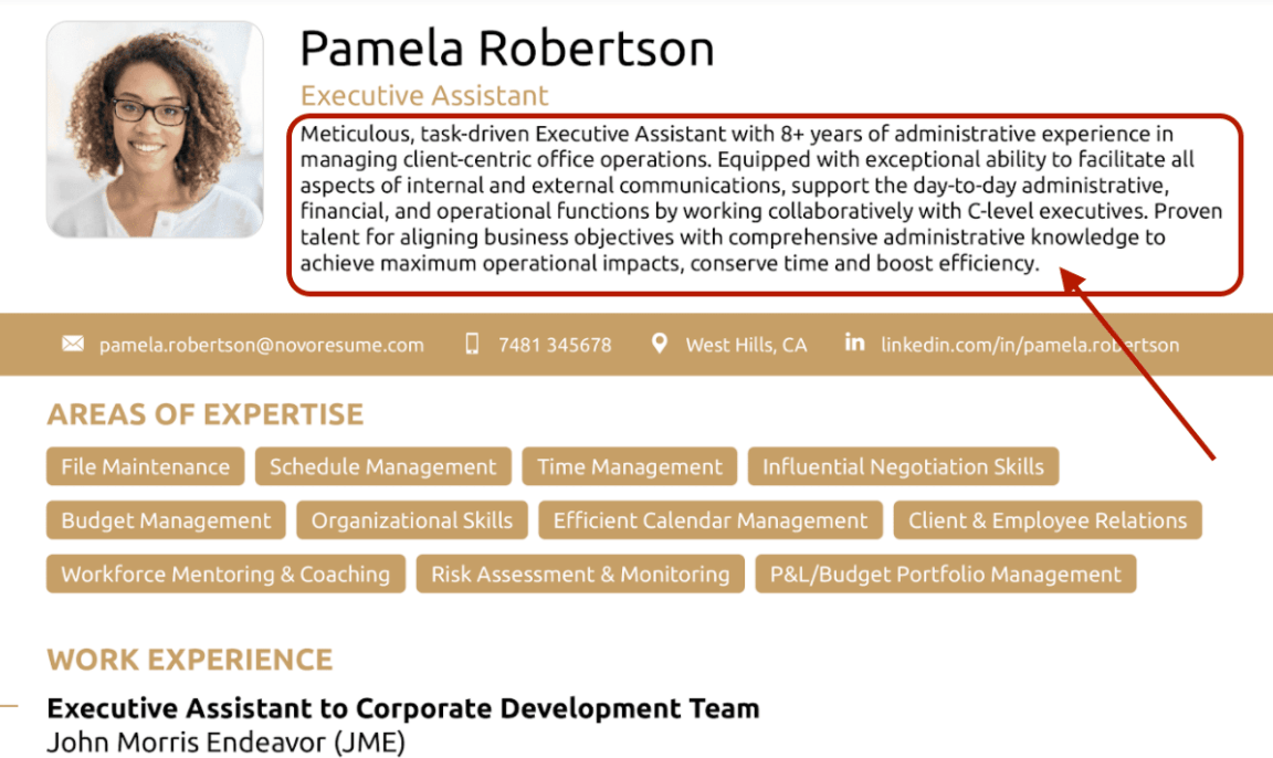resume summary for executive assistant