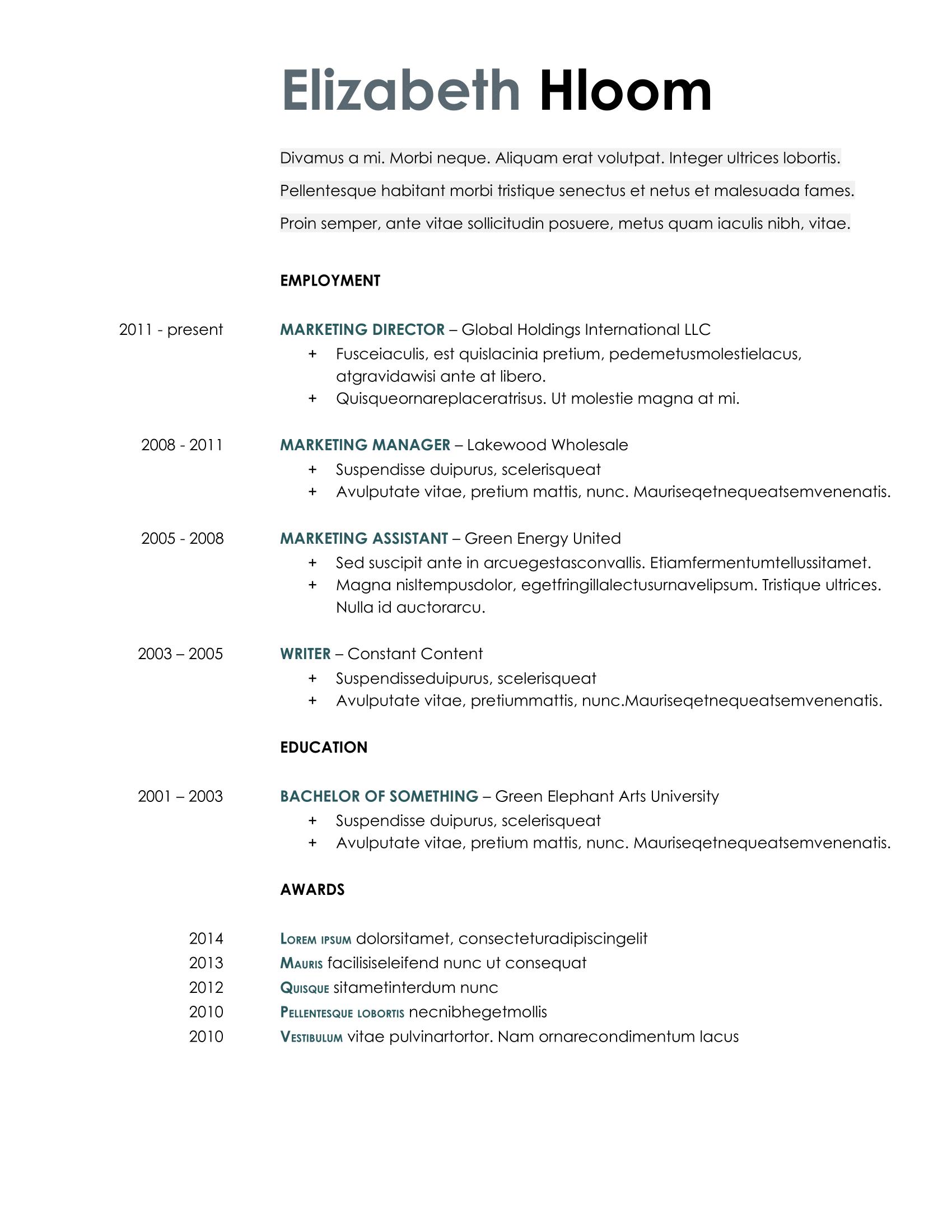 Blue side Google Docs Resume Template