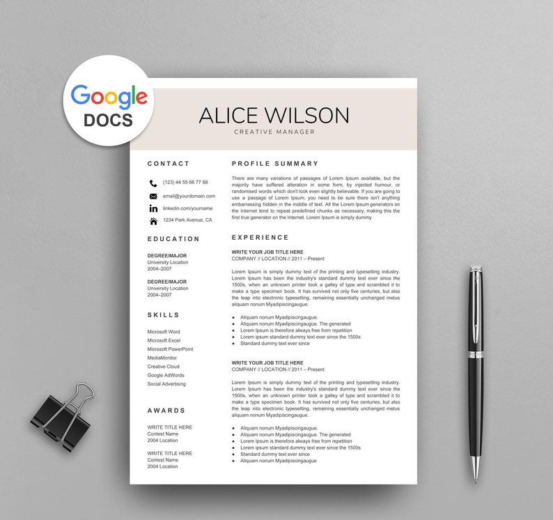 Creative Google Docs Resume Template