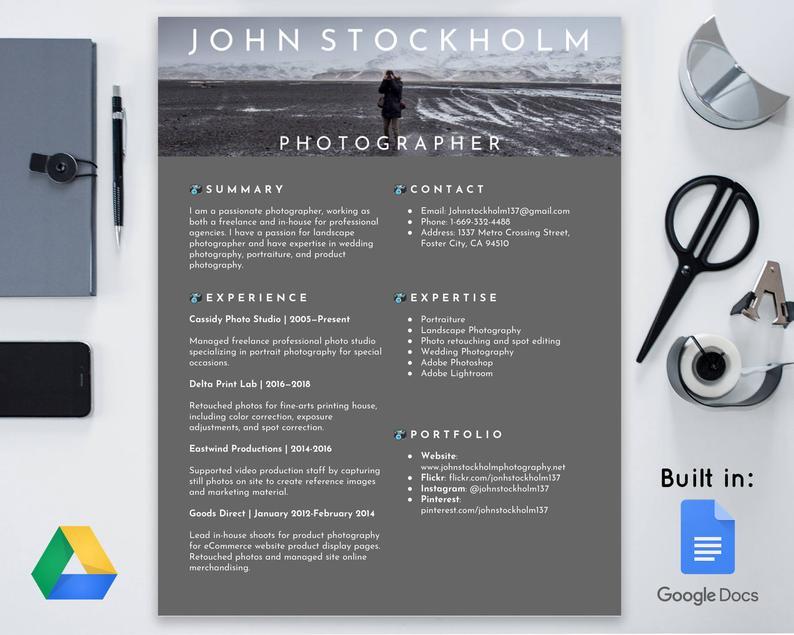 Photographer Google Docs Resume Template