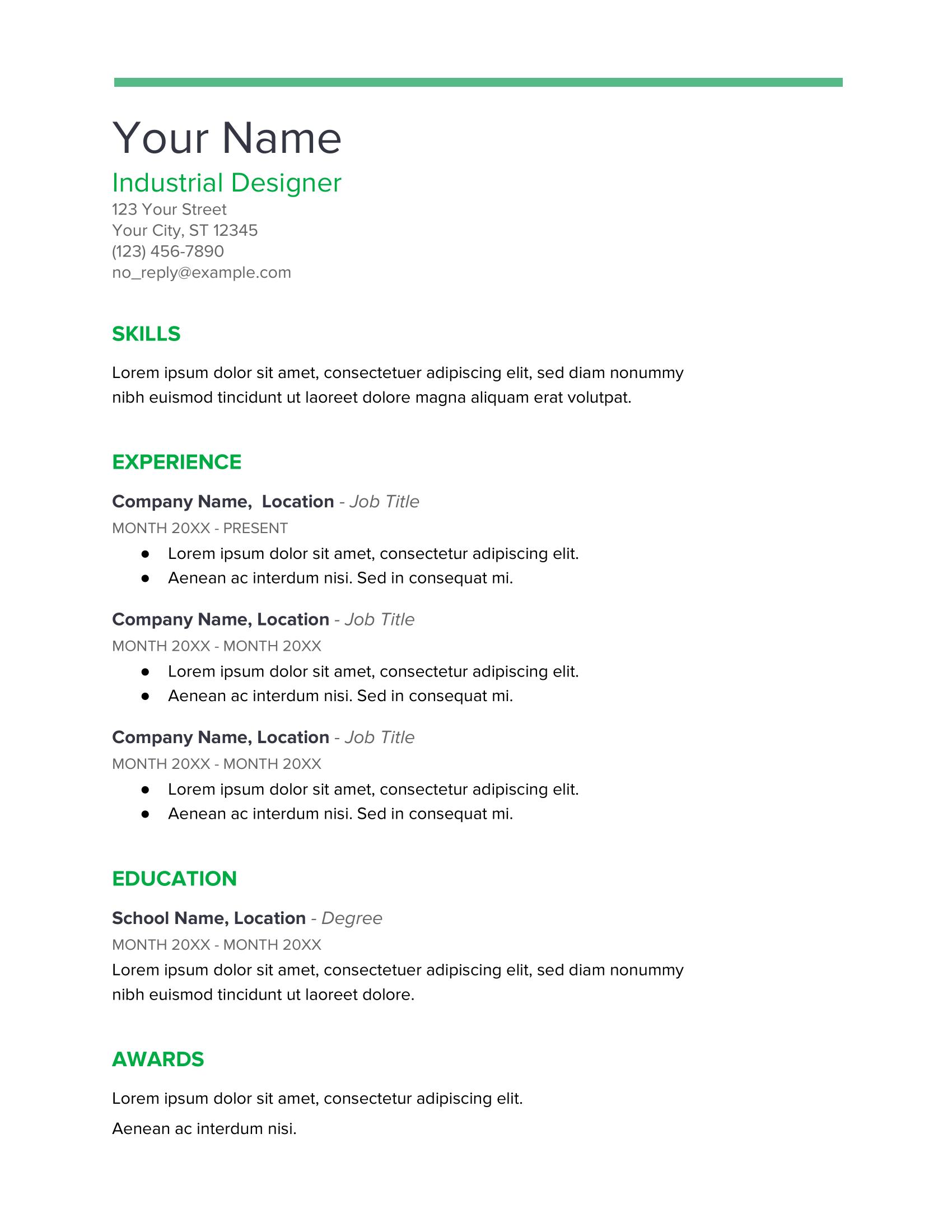 Spearmint Google Docs Resume Template
