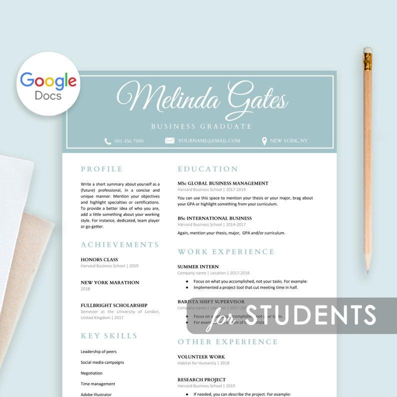 Student Google Docs Resume Template