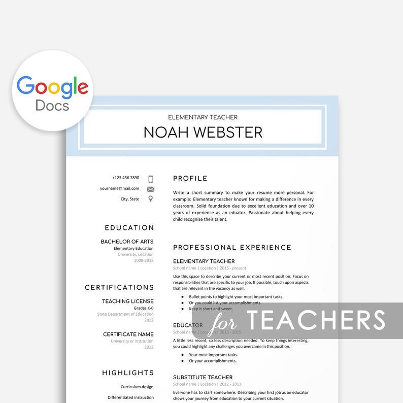 Teacher Google Docs Resume Template