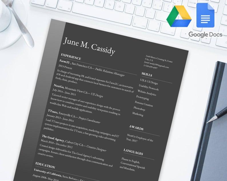 Web Design Google Docs Resume Template