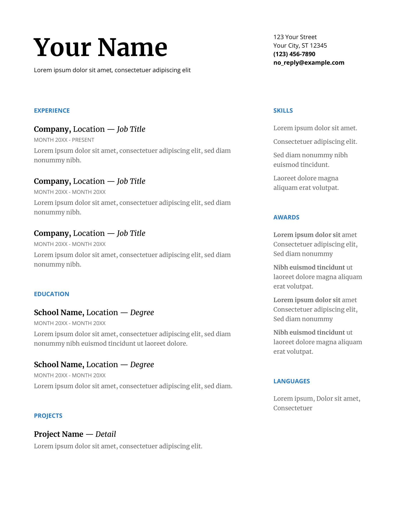 basic google docs resume