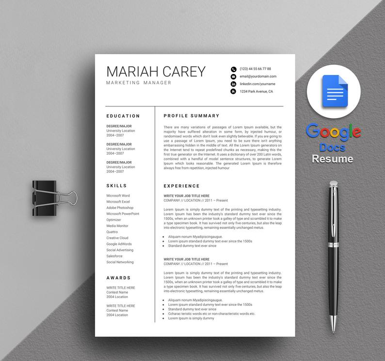 carey manager google doc resume template