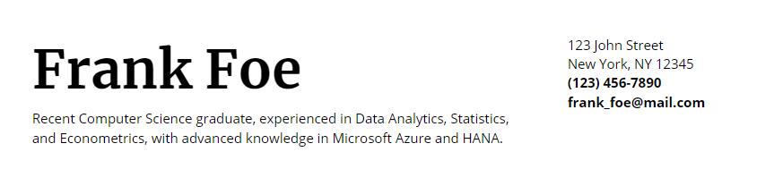 google doc resume header