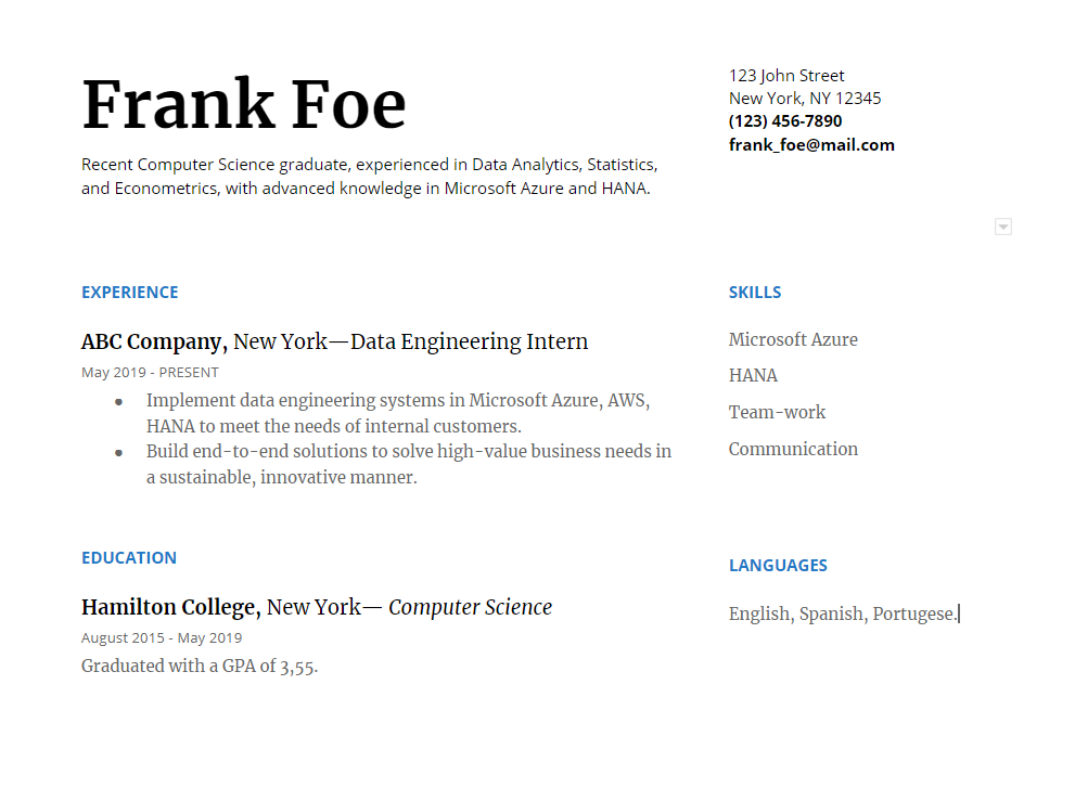 work experience on google doc resume template