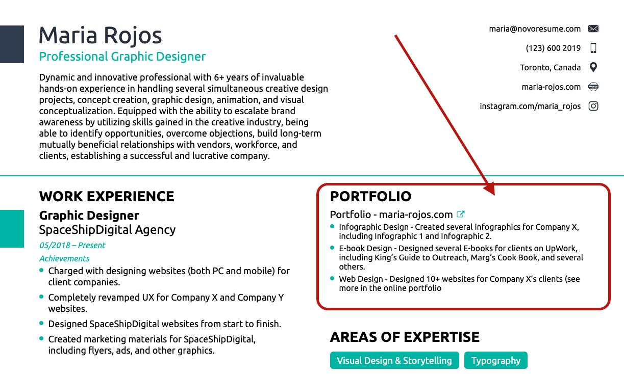 portfolio on graphic designer resume
