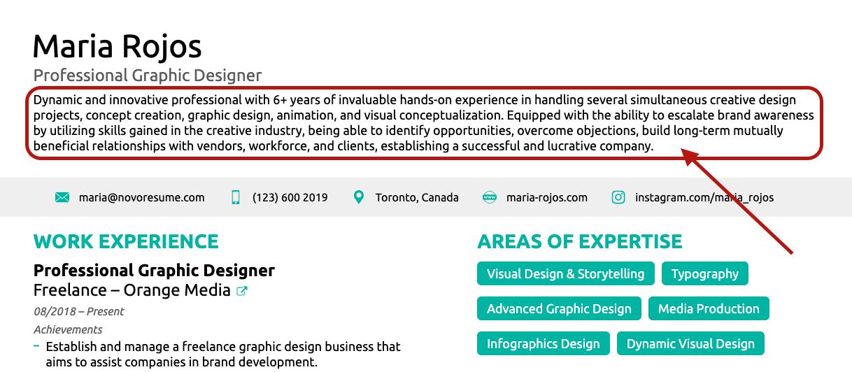 resume summary for graphic designer