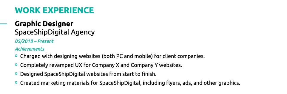 work experience graphic designer