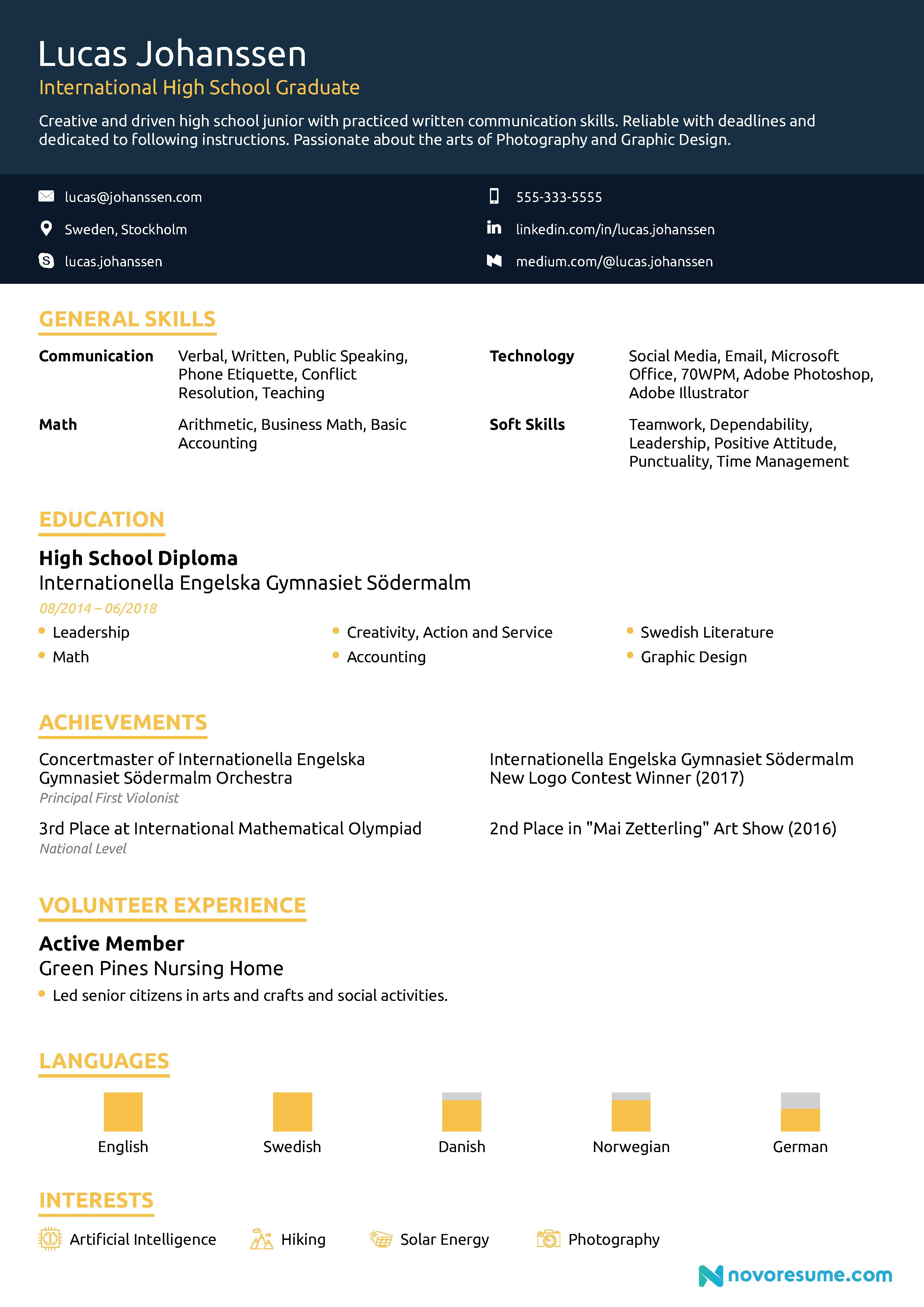 creative high school resume
