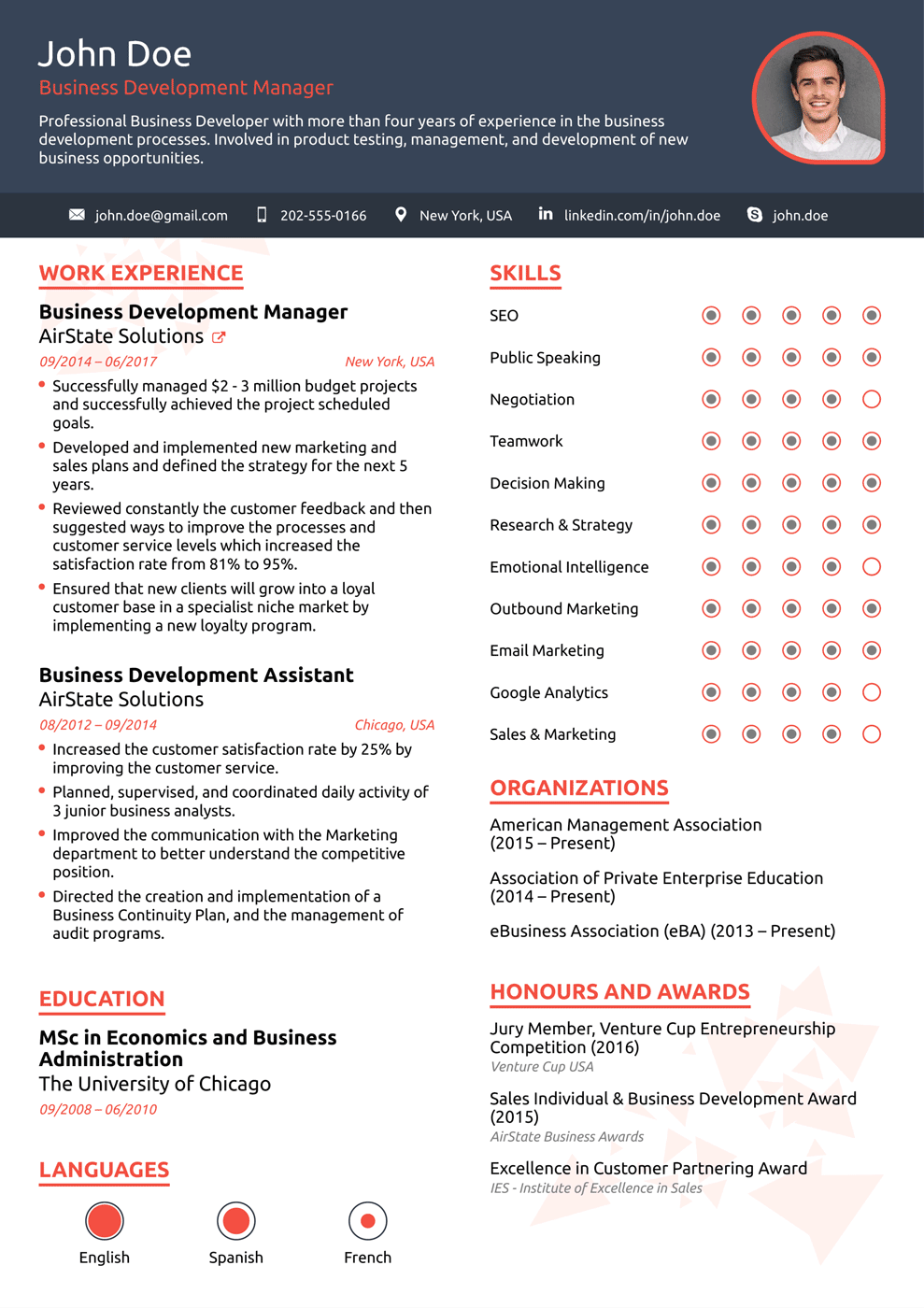 creative resume template for high school