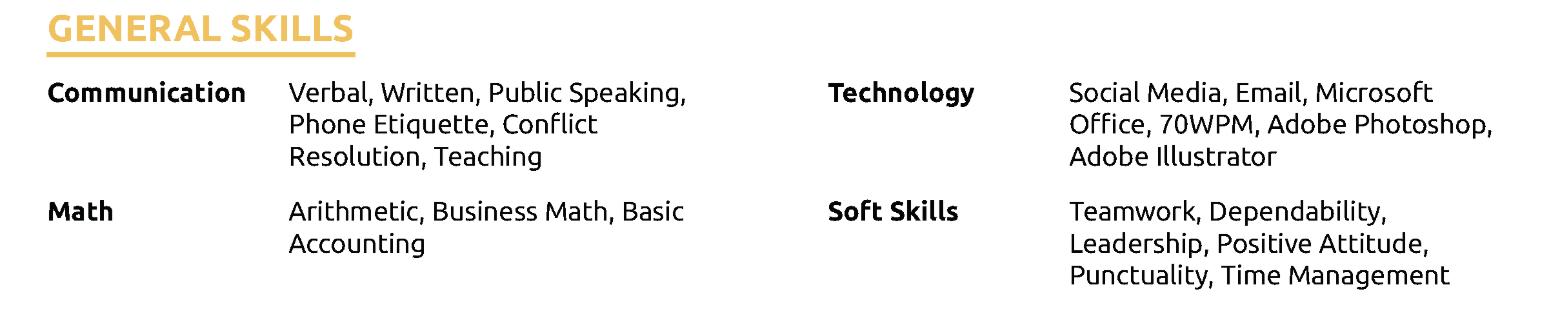 skills on internship resume