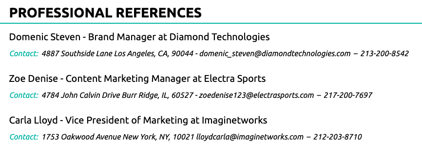 professional references on resume good example