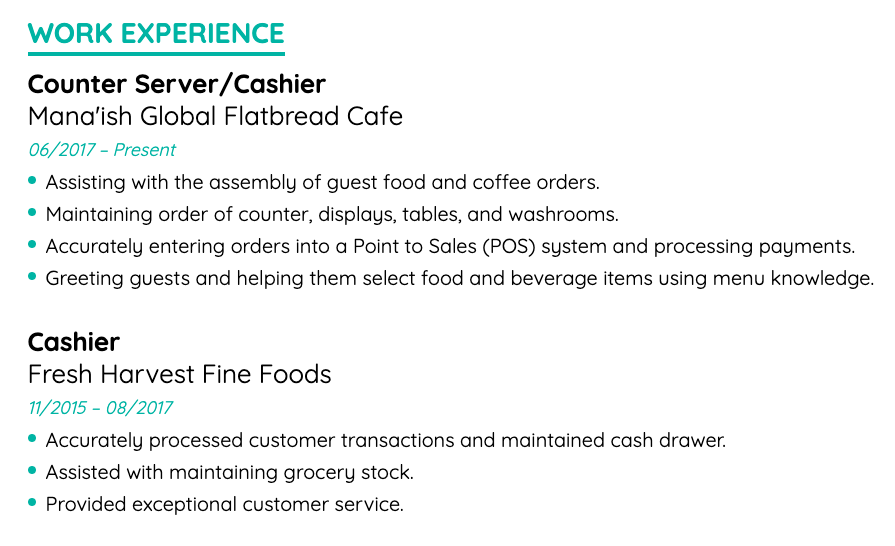 cashier work experience example