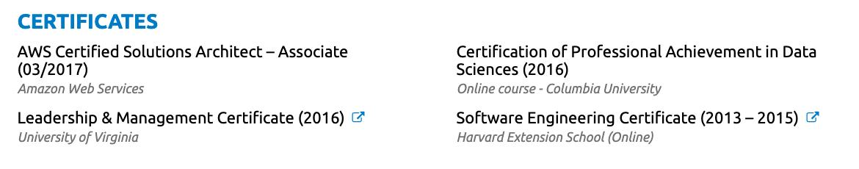 certificates on resume