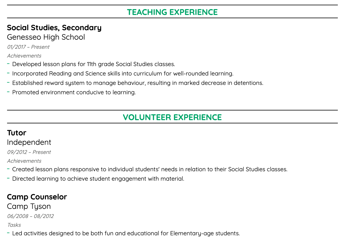 teacher work experience example
