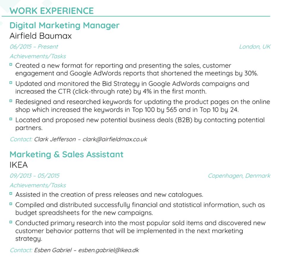 work experience on resume