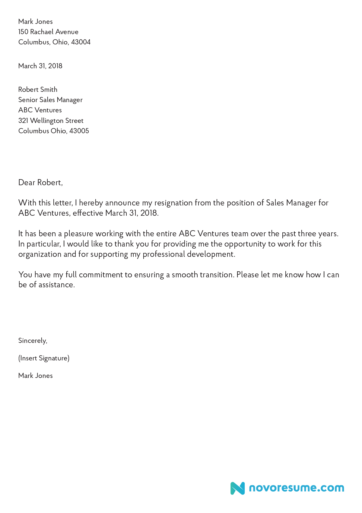 Letter Of Resignation Sample