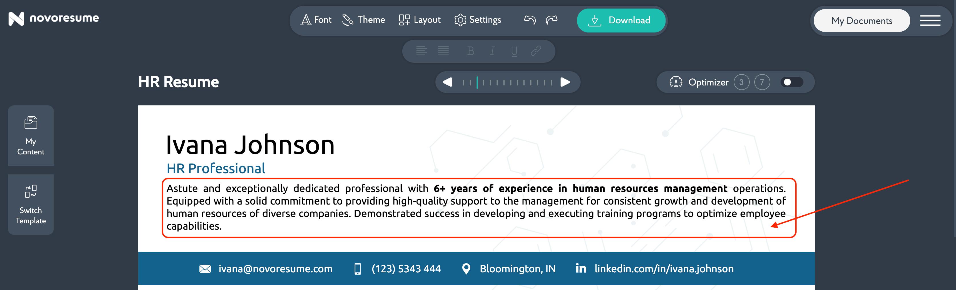 resume summary for hr resume
