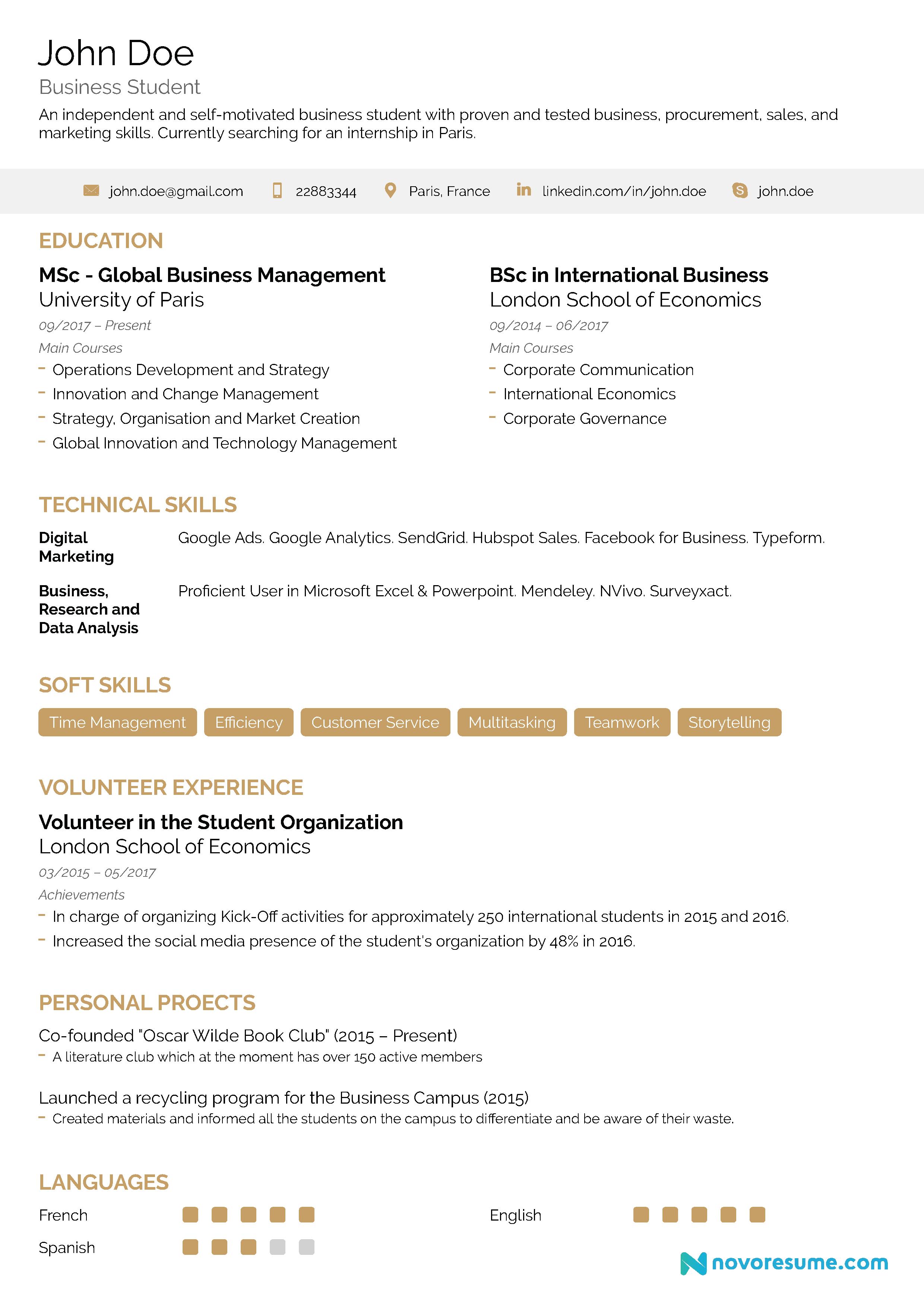 internship resume example