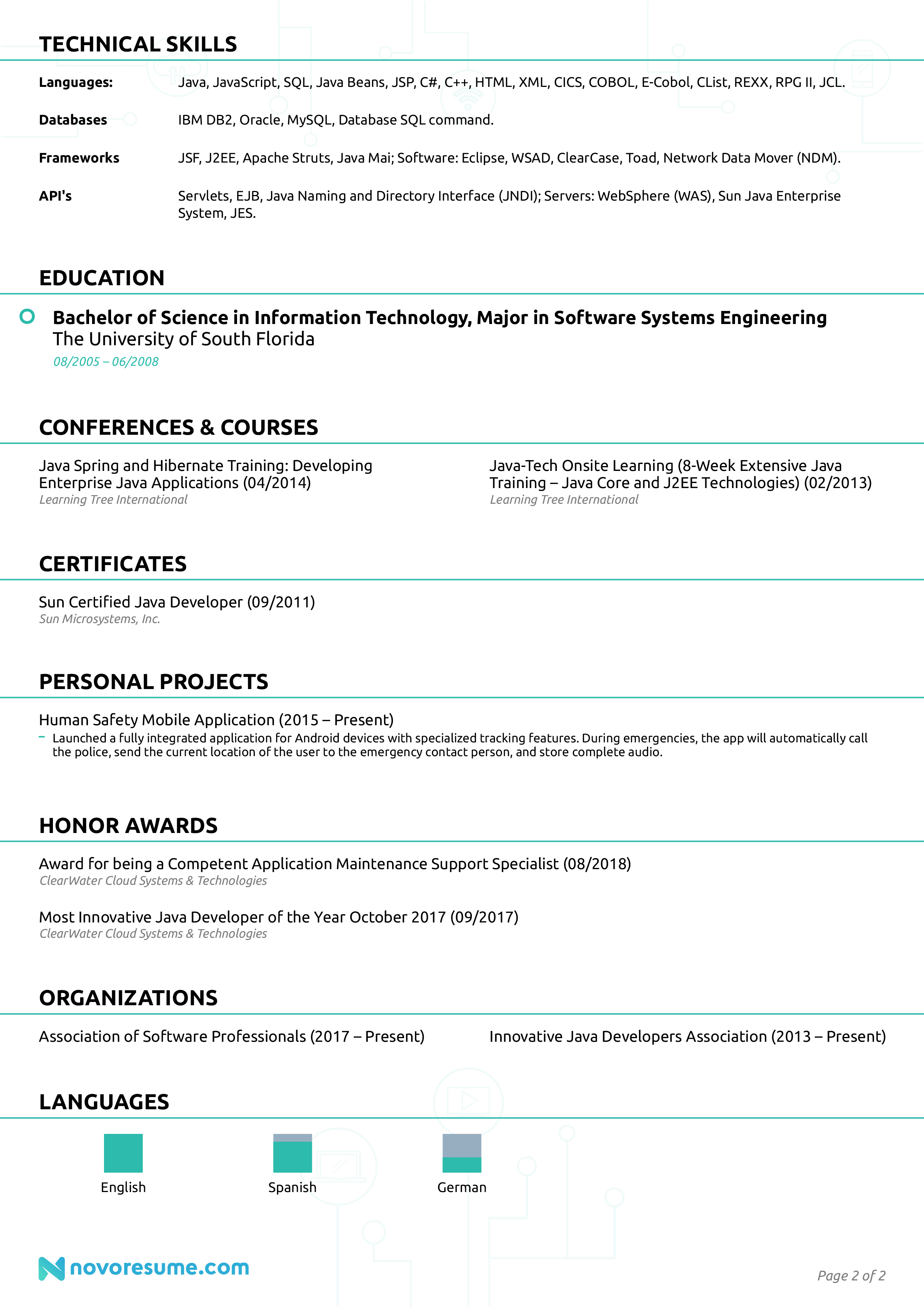 java developer resume sample page 2