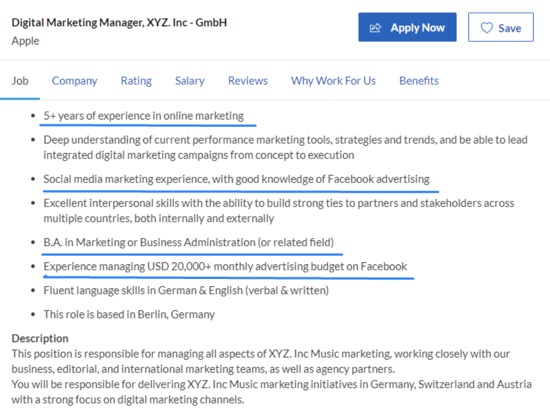 keywords on job ad example
