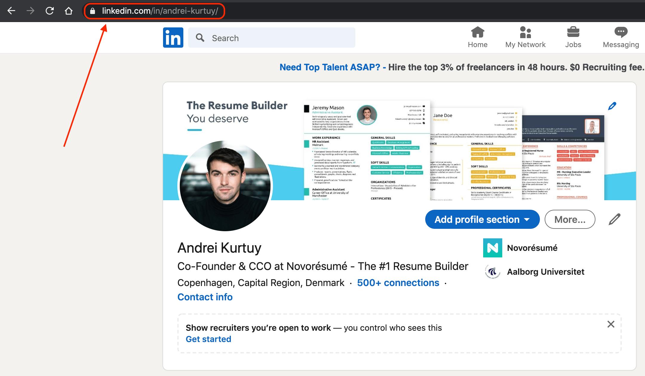 linkedin custom profile url example