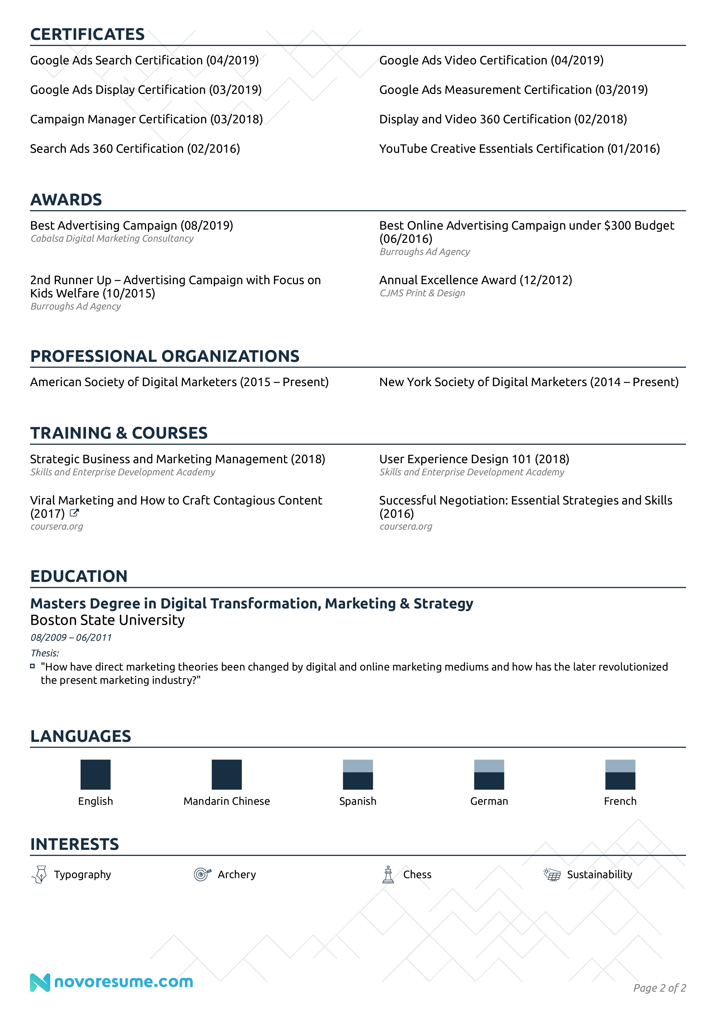 marketing executive resume sample page 2