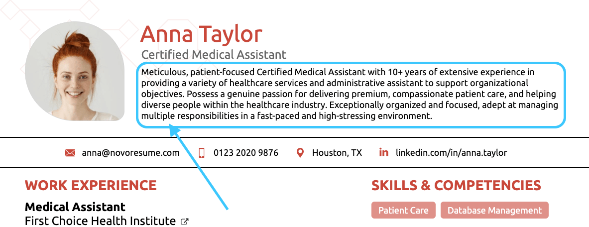 medical assistant resume summary