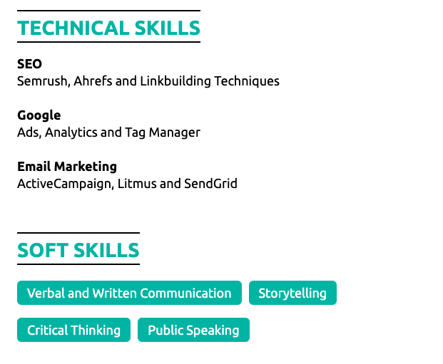 skills section for a resume