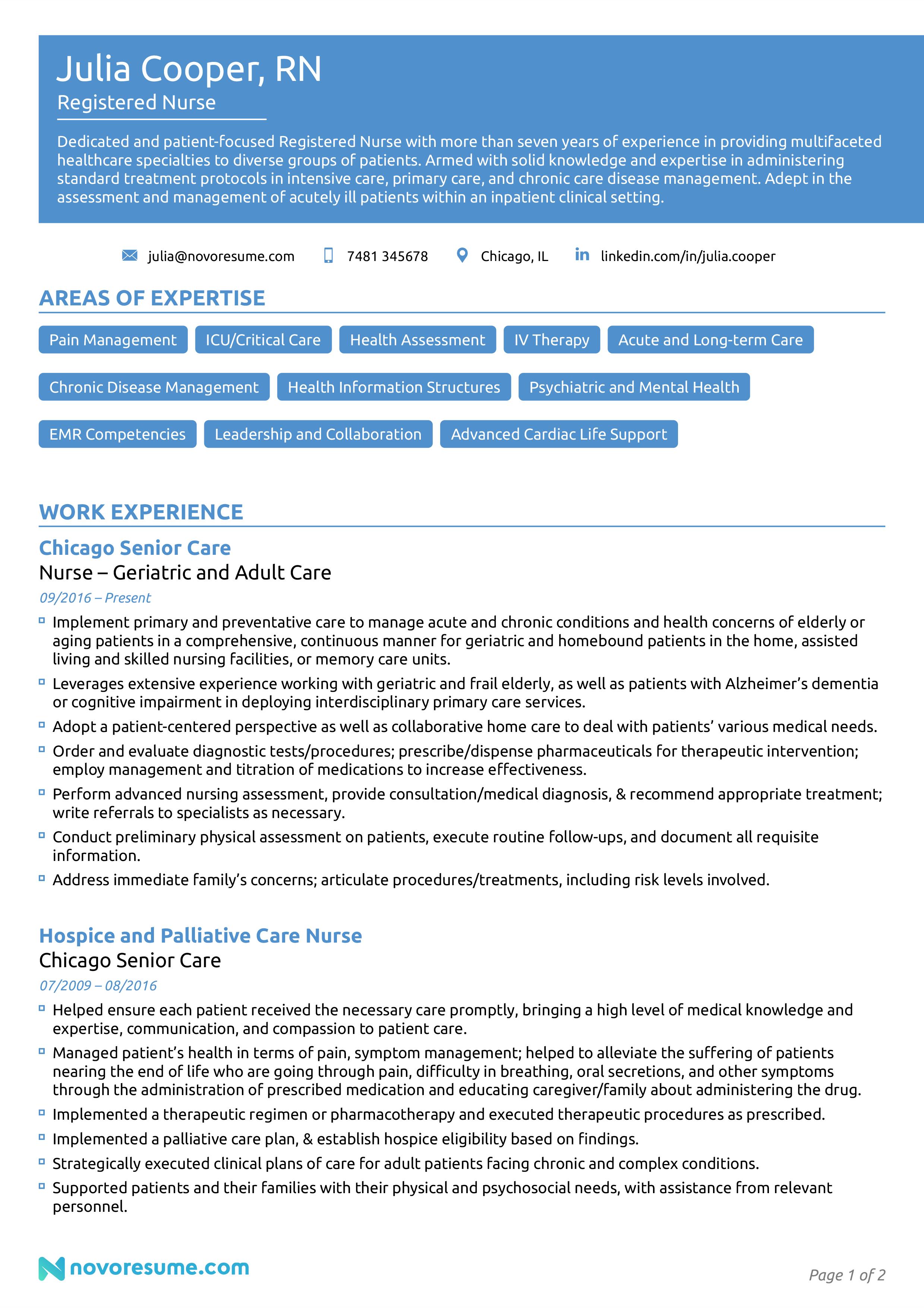 registered nurse resume example page 1